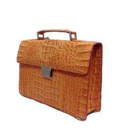 Bag: Crocodile Skin LeatherBriefcaseColor:OrangeMaterial: CrocodileHardware: BrozenMeasures:38x26