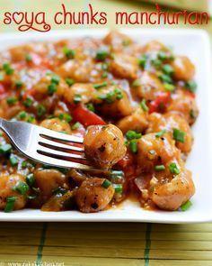 Soya chunks manchurian recipe Read Recipe by rakskitchen Seitan, Tempeh, Tofu, Veg Recipes, Indian Food Recipes, Vegetarian Recipes, Cooking Recipes, Healthy Recipes, Ethnic Recipes