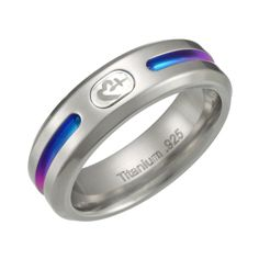 6.5mm Grey Titanium Ring with Rainbow Coloring