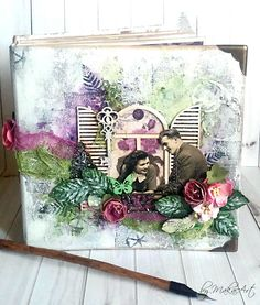 """Cover of my mixed media mini album """"Spring Love"""" Welcome to my blog!     Today I  would like to share with you my mixed media mini album inthe size of 15,5 x 15,5 cm.   This album I decor..."""