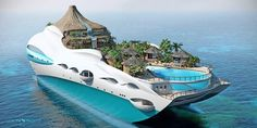 Amazing Luxury Yacht with a Volcano