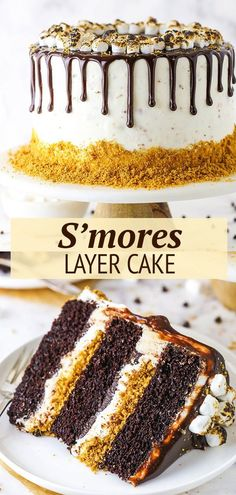 This S'mores Cake is an amazing combination of moist chocolate cake, toasted marshmallow buttercream, graham cracker crunchies and chocolate ganache! #smores#marshmallows #grahamcrackers #chocolate Marshmallow Buttercream, Toasted Marshmallow, Baking Recipes, Cookie Recipes, Dessert Recipes, Desserts, Chocolate Drip Cake, Chocolate Ganache, Cake Decorating