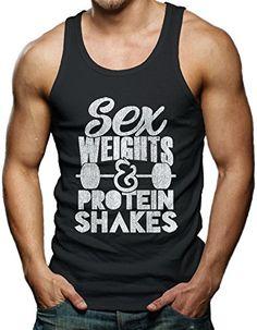 nice Sex Weight & Protein Shakes Men's Tank Top T-shirt (Medium, BLACK)
