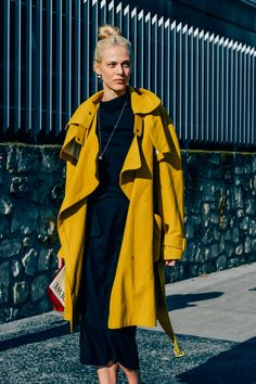 March 6, 2015 Tags Dresses, Yellow, Coats, Models, Model Off Duty, Women, Aymeline Valade, Loewe, Paris