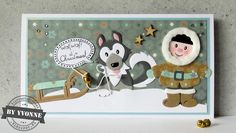 Kaarten & zo: 52 weeks to Christmas. Xmas Cards To Make, Christmas Cards, Christmas Decorations, Marianne Design Cards, Husky, Animal Puzzle, Craft Punches, Animal Cards, Punch Art