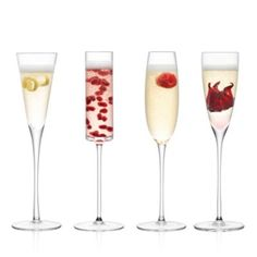 "Lsa Lulu Assorted Champagne Flutes, Set of 4 | Glass | Hand wash | Imported | 10.25""H; 6 oz. 