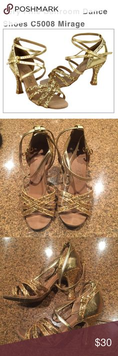 "Very Fine Ballroom Gold Glitter Dance Shoes Good condition, some minor wear. Perfect for Ballroom dancing!! 2.5"" heel. Very Fine Ballroom Dance Shoes Shoes Heels"