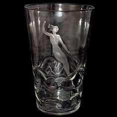 Art-Deco-glass-vase-with-etched-female-water-skier-and-wrythen-glass-to-emulate-waves-designed-by-Vicke-LINDSTRAND-for-ORREFORS,-Sweden-1938.-H.--8