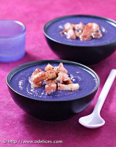 Soupe de chou rouge aux lardons fumés - les meilleures recettes de cuisine d'Ôdélices