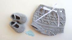 Conjunto tricot bebe   Tapa fraldas  sapatinhos by pontinhosmeus