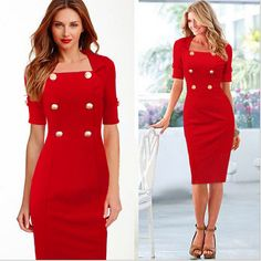 Find More Dresses Information about 2016 New Women  Elegant Office Dreeses Half Sleeve Sqare Collar Knee Length with Buttons OL Pencil  Bodycon Dress,High Quality women tops and blouses,China women hike Suppliers, Cheap women pump from Fashion Style 2016  on Aliexpress.com
