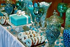 Blue Wedding Candy and Cookie Buffet