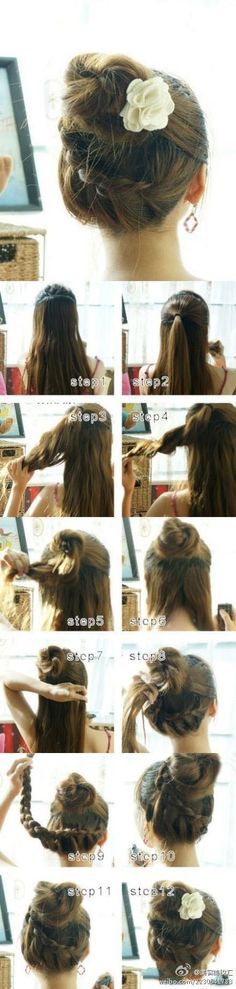 Cute Bun with wrap around braid tutorial - She has a lot of hair (really long hair, beautiful), but separating it into 2 sections makes sense and makes it a lot easier. long hair styles, buns for long hair, braids for long hair Braided Hairstyles Tutorials, Up Hairstyles, Pretty Hairstyles, Braid Tutorials, Beauty Tutorials, Amazing Hairstyles, Protective Hairstyles, Beauty Tips, Braids Tutorial Easy