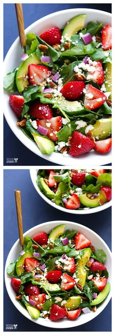 Strawberry Kale Salad -- fresh, healthy, and crazy good | gimmesomeoven.com