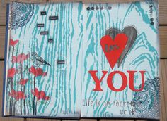 Art journal page - using stencil from Prima/Donna Downey, stencil from Crafters Workshop and a stamp from Hero Arts