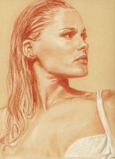 Honey Ryder (Ursula Andress) by LiviuAndrei : sanguine, sepia and white pastel pencil. I need a sanguine pencil.