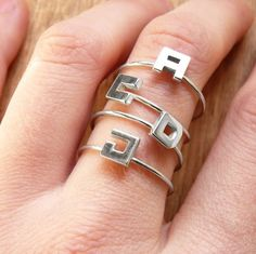 Personalized jewelry Sterling silver Stacking rings by aforfebre