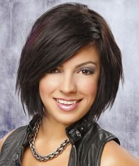 Straight Casual Hairstyle with Side Swept Bangs - Dark Auburn Brunette Hair Color Medium Straight Casual hairstyle: Casual Medium Straight Hairstyle Medium Haircuts With Bangs, Medium Hair Cuts, Short Hair Cuts, Medium Hair Styles, Short Hair Styles, Round Face Haircuts, Trendy Haircuts, Peinado Updo, Human Wigs
