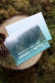 Photo Enclosure Cards | Forest Wedding Welcome Basket | The Evermine Blog