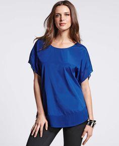 Short Sleeve Stretch Silk Blouse