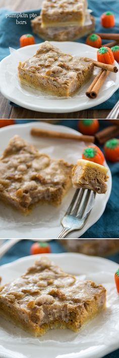 Pumpkin Pie Bars with pecan crumble - these have the perfect crust to filling to topping ratio!