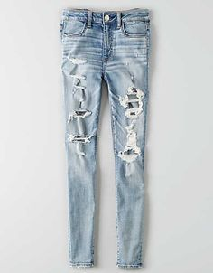 Shop American Eagle for Women's Jeans that look as good as they feel. Find high-waisted, skinny, curvy, cropped & jegging fits in new washes and stretch levels today! Cute Ripped Jeans, Ripped Jeggings, Faded Jeans, Skinny Jeans, Denim Jeans, Jeggings Outfit, Teal Jeans, Jeans Pants, Jean Shorts