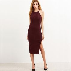 Get wrapped in this fabulous dress with high slit style, sleeveless and bodycon that gonna sculpt the beauty and sexiness of your body. Fabulous Dresses, Winter Dresses, Dress Winter, Designer Dresses, Autumn Fashion, Sexy Women, Bodycon Dress, Clothes For Women, Fashion Design