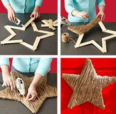 Wrap it all one way, then do it the other way like plaid pUt lights insidey. DIY Twine Star - try this on a smaller scale using Popsicle sticks & embellish them for gift toppers & tree ornaments Noel Christmas, Homemade Christmas, Rustic Christmas, All Things Christmas, Winter Christmas, Christmas Ornaments, Christmas Projects, Holiday Crafts, Holiday Fun