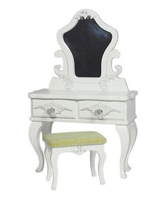 Look what I found on #zulily! Victorian Vanity Table & Stool for 18'' Doll #zulilyfinds