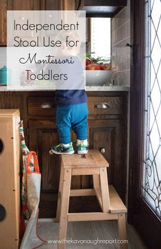 Independent Stool Use - Montessori Young Toddler Week 14 Toddler Proofing, Family Child Care, Kids Stool, Montessori Preschool, Practical Life, Tot School, Learning Spaces, Childcare, Preschool Activities