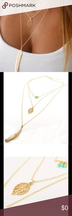 3 Tier Gold Feather Chic Beaded Pendant Necklace Style: Fashion,Love,Charm  Material:Alloy + Turquoise Beads  Color: Gold  Length:approx. 45cm+5cm   Package included:  1 x Fashion Necklace  Nice accessories to integrate with jewelry  Match with suitable apparel for different occasion  Wonderful gift for you and your female friends  Catch this beautiful accessories for you  C3 Jewelry Necklaces