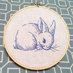 Blue work bunny stitchery