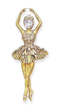 "A DIAMOND-SET ""BALLERINA"" BROOCH, BY VAN CLEEF & ARPELS"
