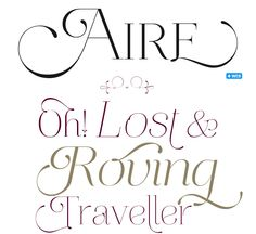Feathery, light, delicate font find: Aire by Maximiliano Sproviero of Buenos Aires, Argentina (Lian Types Foundry). Beautiful.