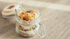 Breakfast in a jar. Refrigerate these oats overnight for a ready-made breakfast in the morning. Recipe calls for Kefir, but I could probably sub yogurt or almond milk.