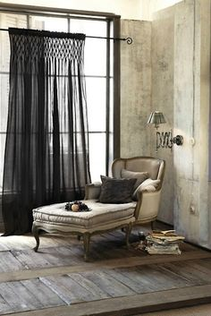 Love the chaise lounge and the curtain is very interesting