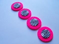 Hot Pink and Zebra Stripe Buttons polymer by FlowertownOriginals, $5.00
