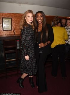 Camera ready:She later posed with singer Alexandra Burke during the press night. Alexandra Burke, Natalie Dormer, Product Launch, Singer, Poses, Night, Color, Dresses, Cirque Du Soleil