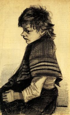 """I'm thinking the title of this one could have been """"Imp""""    Girl with a Shawl, 1883  Vincent van Gogh"""