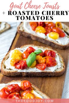 Quick and easy. but with ALL the flavor! These Goat Cheese Toasts with Roasted Cherry Tomatoes are always a hit! meals no vegetables easy recipes Dinner Party Appetizers, Gourmet Appetizers, Appetizer Recipes, Cheese Toast, Goat Cheese, Cheese Food, Easy Vegetable Salad Recipe, Vegetable Salads, Brunch Recipes