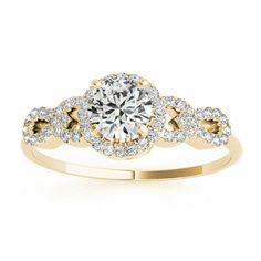 Allurez Halo Engagement Ring Setting, 4 Circles of Diamonds 14k Y. ($1,015) ❤ liked on Polyvore featuring jewelry, rings, yellow, diamond accent rings, 14 karat gold ring, yellow engagement rings, twisted engagement ring and gold rings