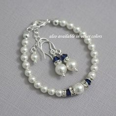 FLOWER GIRL Swarovski Ivory Pearl and Dark Sapphire, Swarovski Navy Crystal Earring and Bracelet Set, Flower Girl Jewelry, Flower Girl Gift