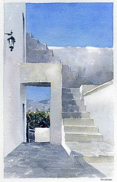 doorway - greece by Thomas W Schaller Watercolor ~ 12 inches x 9 inches