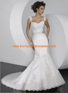 Robe de mariée sirène avec bretelle applique perles