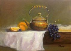 Copper Pot W/fruit Painting by Anne Barberi - Copper Pot W/fruit Fine Art Prints and Posters for Sale fineartamerica.com #annebarberi #classicoilpainting #stilllifepainting