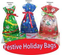 GiftMate 10-Pc. Christmas Holographic Drawstring Gift Bags: 4-XLG, 3-Large, 3-Medium