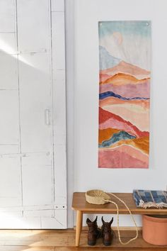 Shop Painted Landscape Print Tapestry at Urban Outfitters today. We carry all the latest styles, colors and brands for you to choose from right here. Pink Flamingo Wallpaper, Landscape Prints, Eclectic Decor, Eclectic Bedrooms, Summer Wreath, Halloween Crafts, Bauhaus, Wall Tapestry, Houses