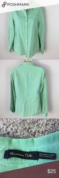 Massimo Dutti Mint Green Shirt Soft all cotton fitted shirt. Gently worn, still in excellent condition. No tears or stains. Massimo Dutti Tops Button Down Shirts