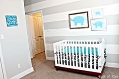Modern Baby Nursery Ideas For Boys LOVE GRAY STRIPE