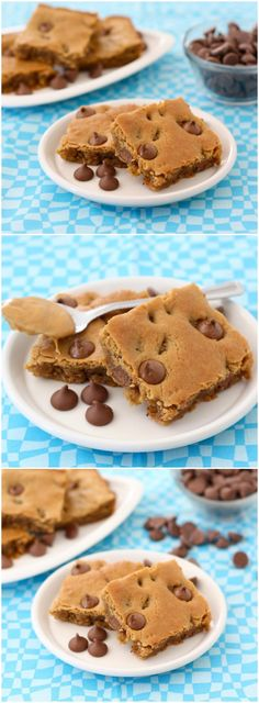 Peanut Butter Chocolate Chip Blondies Recipe on twopeasandtheirpod.com Love the peanut butter and chocolate combo!